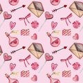 Watercolor seamless pattern for Valentine`s day with heart, key, lock, bow, envelope, love, candy, arrow, flower