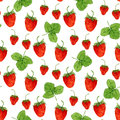 Watercolor seamless pattern with vector strawberries and leaves on the white background. Hand drawn illustration for eco product Royalty Free Stock Photo