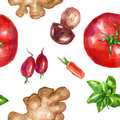 Watercolor seamless, pattern vegetables set with mint white mushroom tomato ginger