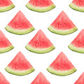 Watercolor seamless pattern of watermelon slices.
