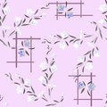 Watercolor seamless pattern white and gray flowers on a lilac background