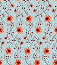 Watercolor seamless pattern with wild orange flowers, brawn branches and red berries on blue background. Royalty Free Stock Photo