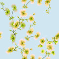 Watercolor seamless pattern yellow and green flowers on a blue background Royalty Free Stock Photo