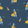 Watercolor seamless pattern with yellow roses, blue leaves and dragonfly on blue background