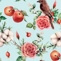Watercolor seamless patttern with bird and apple. Hand painted floral illustration with cotton, apple, dogrose, leaves