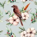 Watercolor seamless patttern with bird and cotton. Hand painted floral illustration with white flower, snowberries