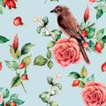 Watercolor seamless patttern with bird and rose. Hand painted floral illustration with snowberries, dogrose, leaves and