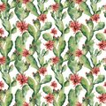 Watercolor seamless patttern with cactuses and flowers. Hand painted opuntia on white background. Illustration Royalty Free Stock Photo
