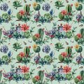 Watercolor seamless patttern with cactuses and many flowers. Hand painted cereus, succulent, berries, branch and leaves Royalty Free Stock Photo