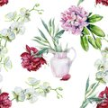 Watercolor seamless of pink peony flower in a vase