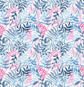 Watercolor Seamless Texture WithDeep Blue Ferns and Pink Leaves