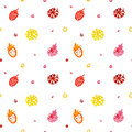 Watercolor seamless vector pattern (multicolored). Berries and flowers. Happy Birthday pattern. Royalty Free Stock Photo