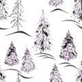 Watercolor seamless winter pattern .