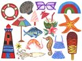 Watercolor Set aquatic animal and fruits plant accessories on vacation Hand-Painted Isolated on white background for backdrop