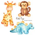 Watercolor set with baby stuffed animals toys
