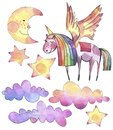 Watercolor set with bright unicorn, rainbow clouds and stars on white background.