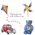 Watercolor set with children's toy. Hand drawn kids toy: red car, kite, teddy bear and windmill. Royalty Free Stock Photo