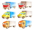 Watercolor set collection of light commercial vehicles in white background isolated Royalty Free Stock Photo