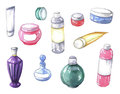 Watercolor set cosmetic bottles