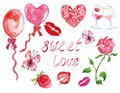 Watercolor set of elements for Valentine`s day in red and pink colors isolated