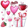Watercolor set of elements for Valentine`s day