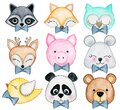 8023 Watercolor set of forest cartoon isolated cute baby animals with decorations for boy baby design. Nursery woodland clipart Royalty Free Stock Photo
