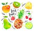 Watercolor set of fruit
