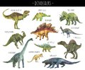 Watercolor set of hand drawn realistic dinosaurs