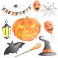 Watercolor set for halloween with pumpkin.