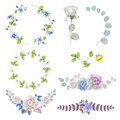 Watercolor set of rose wreaths and bouquets