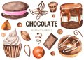 Watercolor set of sweets. Donuts, cheesecakes, cakes, sweets, muffins, chocolate.