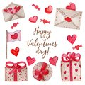 Watercolor set for Valentine`s Day