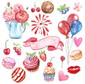 Watercolor set for Valentines day, birthday. Hand drawn red kiss, lips, hearts, air balloon, salute, sweet desserts, fruits