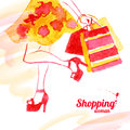 Watercolor shopping women design vintage background with beautiful girl spring theme background Royalty Free Stock Image