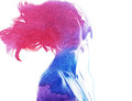 Watercolor silhouette of a beautiful girl Royalty Free Stock Photos