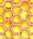 Watercolor similar pattern with bright orange honeycombs