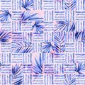 Watercolor simple seamless pattern. Blocks of tropical leaves and lines background