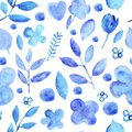 Watercolor simple silhouettes flowers blue seamless pattern