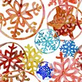Watercolor snowflakes in colors of merry cristmas