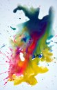 Watercolor splash in green pink yellow red hues on white background Royalty Free Stock Photo