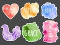 Watercolor spot. Set of colors texture blots - Collection stickers with words - everlasting love, prayer, bible, holiness, grace