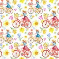 Watercolor spring bike ride seamless pattern with pink, yellow and blue flowers on white background. Cute girl in skirt on bike