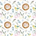 Watercolor Spring Easter seamless pattern with chicks birds, colored eggs, nest, feathers