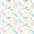Watercolor Spring Easter seamless pattern on white background with chicks birds, eggs, feathers