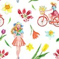 Watercolor spring bike ride seamless pattern with cute girl and colorful flowers on white background. Springtime illustration
