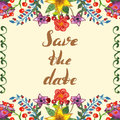 Watercolor square frame with flowers, leaf and berries, lettering Save the date