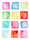 Watercolor square patches or buttons isolated Stock Image