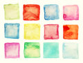 Watercolor square patches or buttons isolated on white Stock Photos