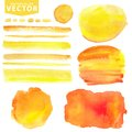 Watercolor stains,brushes.Orange,yellow.Summer sun Royalty Free Stock Photo