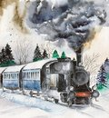 Watercolor steam engine on the snowy railroad Royalty Free Stock Photo